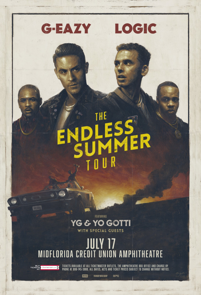Endless Summer tour poster painted by Sam Spratt for rappers G-Eazy, Logic, Yo Gotti, and YG.